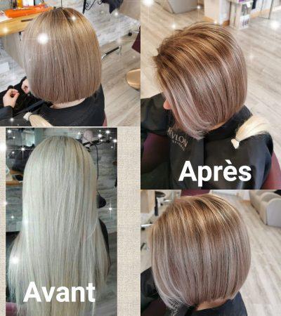Un avant après sur cheveux blonds