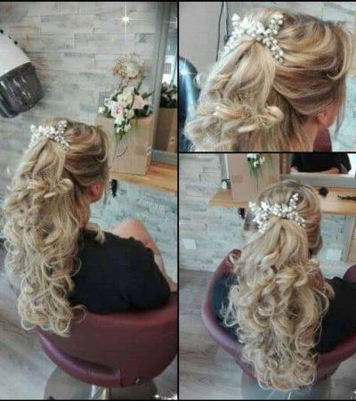 Coiffure longue de mariage sur cheveux blonds